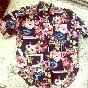 90's Floral Southwest Pattern Oversized Shirt 1993